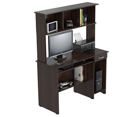 Inval Computer Workcenter With Hutch Espresso Wengue By Office Depot Officemax