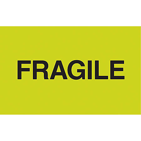 "Tape Logic® Preprinted Shipping Labels, DL2421, ""Fragile"", 3"" x 5"", Fluorescent Green, 500 Per Roll"
