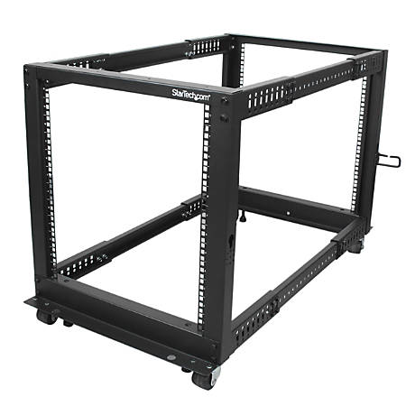 StarTech.com 12U Adjustable Depth Open Frame 4 Post Server Rack w/ Casters / Levelers and Cable Management Hooks - Store your servers, network and telecommunications equipment in this adjustable 12U rack - 12U Adjustable Depth Open Frame 4 Post Serve