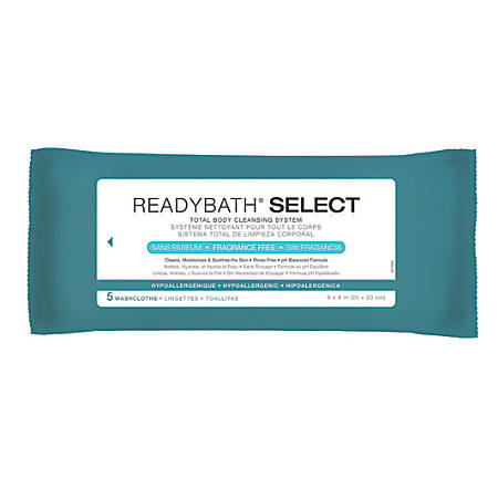 "ReadyBath SELECT Medium-Weight Cleansing Washcloths, Unscented, 8"" x 8"", White, 5 Washcloths Per Pack, Case Of 30 packs"
