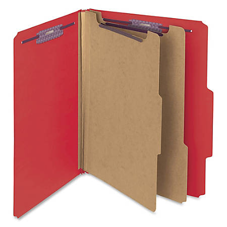 "Smead® Classification Folders, Top-Tab With SafeSHIELD® Coated Fasteners, 2"" Expansion, Letter Size, 50% Recycled, Bright Red, Box Of 10"