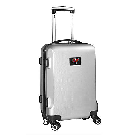 """Denco 2-In-1 Hard Case Rolling Carry-On Luggage, 21""""H x 13""""W x 9""""D, Tampa Bay Buccaneers, Silver"""