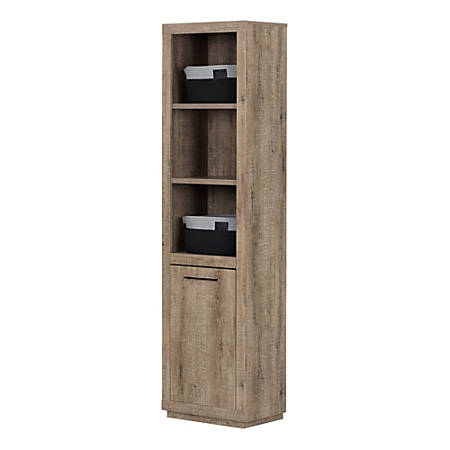 South Shore Furniture Kanji 3-Shelf Bookcase With Door And Baskets, Weathered Oak/Gray