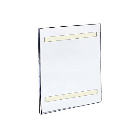 "Azar Displays Acrylic Sign Holders With Adhesive Tape, 11"" x 7"", Clear, Pack Of 10"