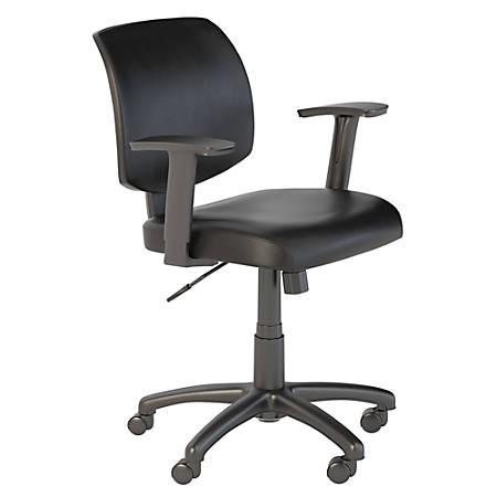 Bush Business Furniture Petite Leather Office Chair, Black, Premium Installation