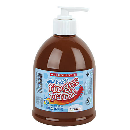 Scholastic Washable Finger Paint, 16 Oz, Brown