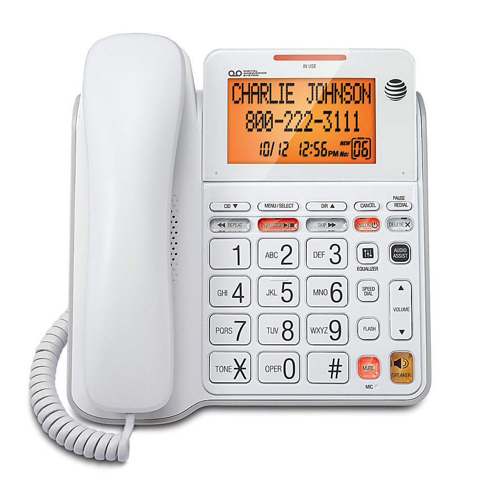 Corded, digital answering system features an extra-large tilt display for easy viewing, speakerphone, audio assist, extra-large buttons, an extra-loud ringer, visual ringer indication and Caller ID/Call Waiting.  Speakerphone allows you to speak and listen without holding the handset.  This leaves your hands free to do other things and lets more people participate in the conversation.  Audio Assist temporarily increases overall volume and enhances sound frequencies that make speech easier to understand.  Corded phone also offers a 25-name/number phonebook directory  50-name/number Caller ID history  10-number speed dial  equalizer  redial  flash  mute  English/Spanish/French setup menu  25-minute digital recording time  Call Screening/Intercept  Remote Access with Toll Saver  time/day stamp  audible message alert  Message Guard Memory for power failures  and memo recording.