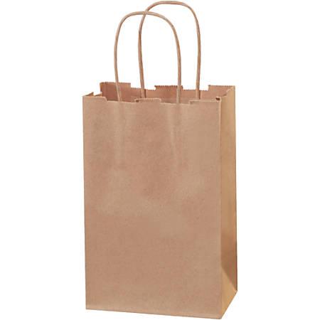 "Partners Brand Paper Shopping Bags, 8 3/8""H x 5 1/4""W x 3 1/4""D, Kraft, Case Of 250"