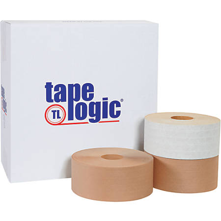 "Tape Logic® Reinforced Water-Activated Packing Tape, #7700, 3"" Core, 3"" x 150 Yd., White, Case Of 10"