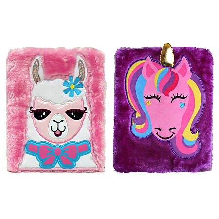 Inkology Plush Journals, A5 Size, Wide Ruled, 256 Pages (128 Sheets), Llama/Unicorn, Pack Of 6 Journals