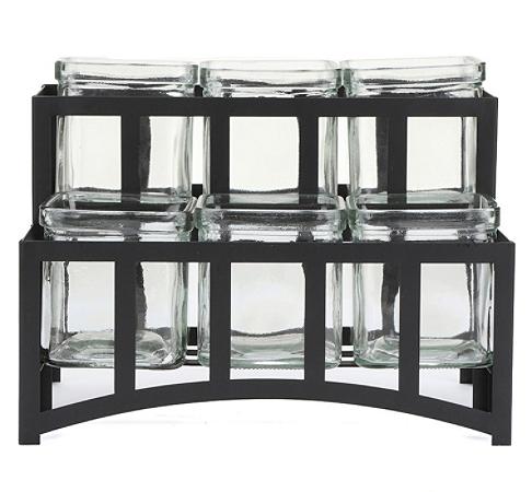 "Mind Reader 2-Tier 6-Compartment Condiment Server Jar Stand, 7""H x 10-5/16""W x 6-7/16""D, Black"
