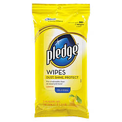 Pledge Furniture Polish Wipes Lemon Scent