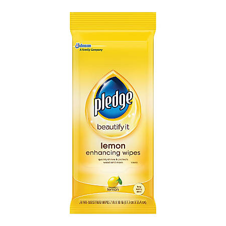 Pledge Furniture Polish Wipes Lemon Scent 7 X 11 Pack Of 18 Office