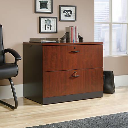 Sauder® Via Wood Letter/Legal Size Lateral File Cabinet, Classic Cherry/Soft Black
