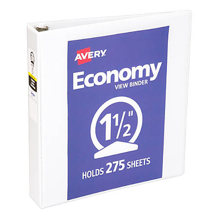 "Avery® Economy View Binder With Round Rings, 8 1/2"" x 11"", 1 1/2"" Rings, 37% Recycled, White"