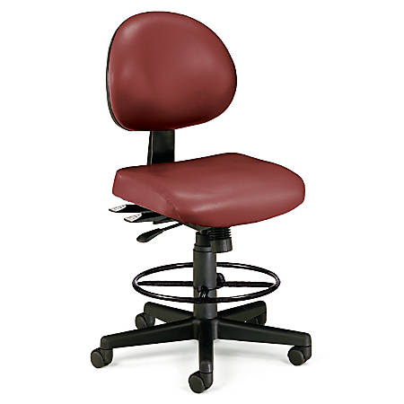 OFM 24-Hour Anti-Microbial Computer Task Chair With Drafting Kit, Wine/Black