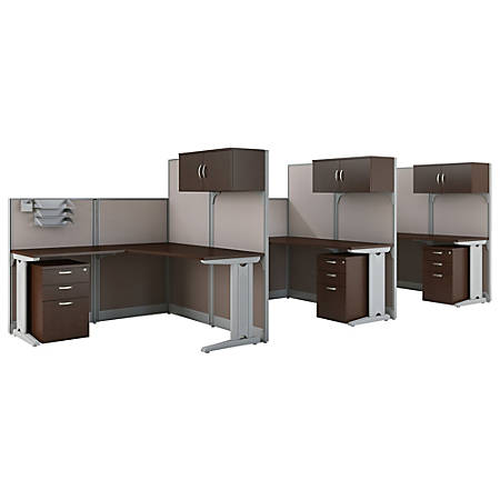 Bush Business Furniture Office in an Hour 3 Person L Shaped Cubicle Workstations, Mocha Cherry, Premium Installation