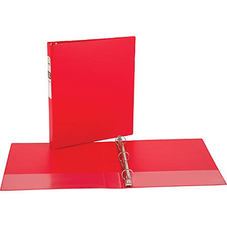 """Avery® Economy Binders With Round Rings, 8 1/2"""" x 11"""", 1"""" Rings, 54% Recycled, Red"""