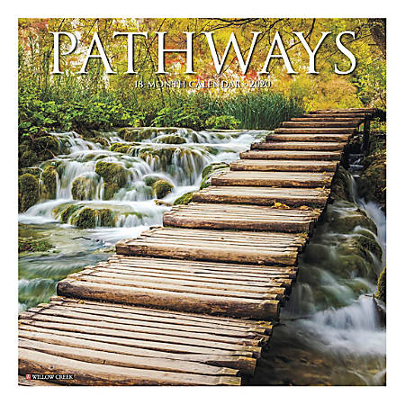 "Willow Creek Press Inspirational Monthly Wall Calendar, 12"" x 12"", Pathways, December To January 2020"