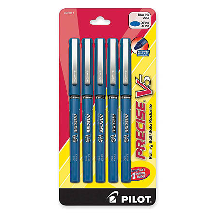Pilot® Precise™ V5 Liquid Ink Rollerball Pens, Extra Fine Point, 0.5 mm, Blue Barrel, Blue Ink, Pack Of 5 Pens