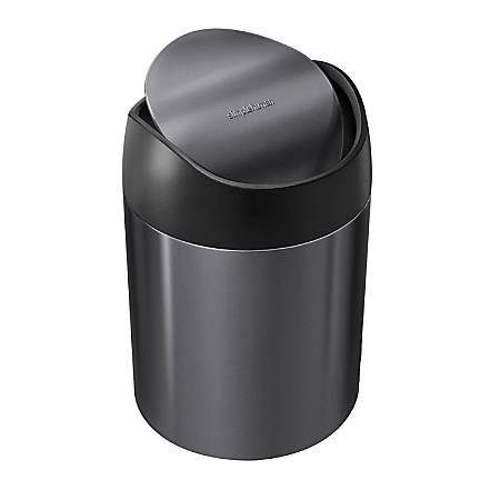 """simplehuman Mini Round Steel Trash Can, 7-3/8""""H x 5""""W x 5""""D, 1.6 Qt, Black"""