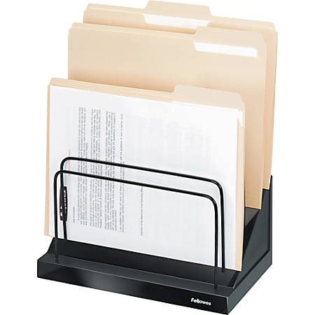 "Fellowes Designer Suites™ Step File® - 6 Compartment(s) - Compartment Size 1"" - 10.5"" Height x 11.1"" Width x 7.1"" Depth - Desktop - Black, Pearl - 1Each"