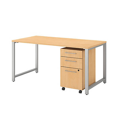 "Bush Business Furniture 400 Series Table Desk With 3 Drawer Mobile File Cabinet, 60""W x 30""D, Natural Maple, Premium Installation"