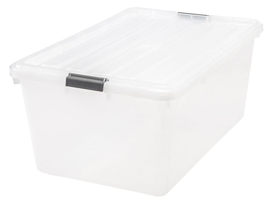 IRIS Buckle Down Plastic Storage Box 68 Qt 11 34 H x 17 14 W x 26 18