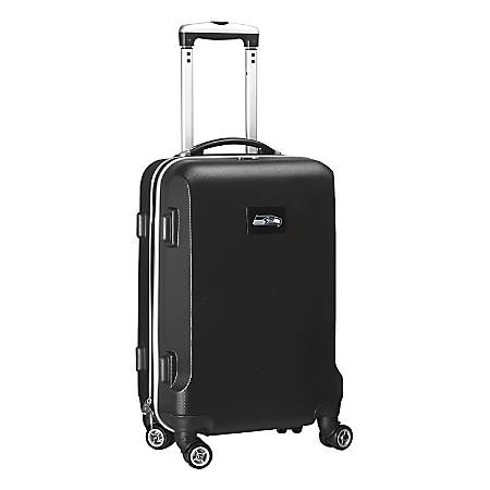 """Denco 2-In-1 Hard Case Rolling Carry-On Luggage, 21""""H x 13""""W x 9""""D, Seattle Seahawks, Black"""