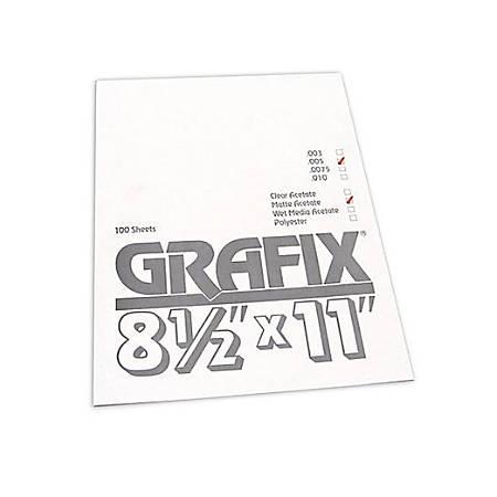 "Grafix Matte Acetate Sheets, 8 1/2"" x 11"", 0.005"" Thick, Pack Of 100"