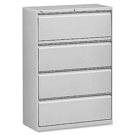 """Lorell® Fortress Series 42""""W Steel Lateral File Cabinet, 4-Drawer, Light Gray"""