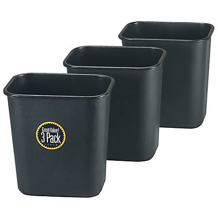 Rubbermaid® Rectangular Waste Can, 28 Quart, Black, Pack Of 3 Cans