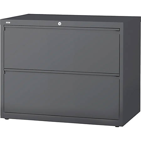 """Lorell Lateral File - 36"""" x 18.6"""" x 28.1"""" - 2 x Drawer(s) - Legal, Letter, A4 - Lateral - Rust Proof, Leveling Glide, Interlocking - Charcoal - Baked Enamel - Steel - Recycled"""