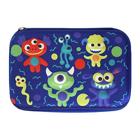 "Inkology Monsters 3-D Pencil Case, 9""H x 6""W x 1-1/2""D, Blue"