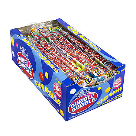 Dubble Bubble Gum Ball Tubes, Assorted Flavors, Pack Of 24