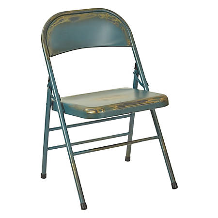 Office Star™ Bristow Steel Folding Chairs, Antique Turquoise, Set Of 4 Chairs