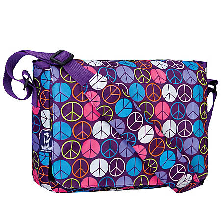 Wildkin Kickstart Messenger Bag, Peace Signs Purple