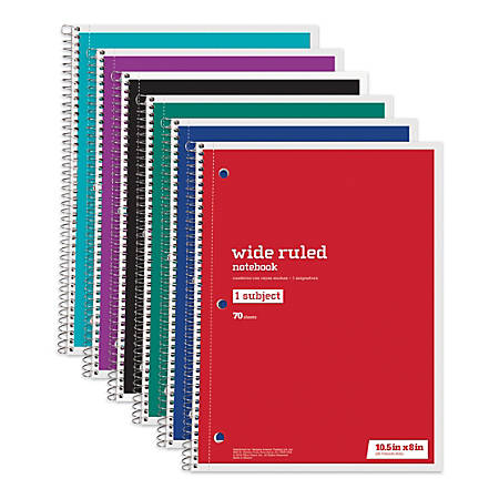 """Just Basics® Wirebound Notebook, 3-Hole Punched, 8"""" x 10 1/2"""", 1 Subject, Wide Ruled, 70 Sheets, Assorted Colors, Pack Of 6"""