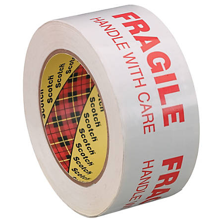 """3M™ 3772 Printed Message Tape, 3"""" Core, 2"""" x 110 Yd., White/Red, Case Of 6"""