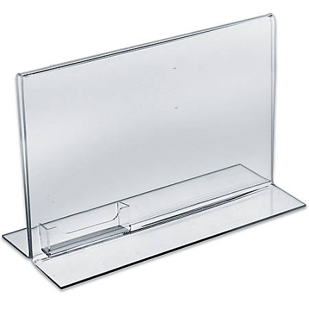 """Azar Displays Double-Foot Acrylic Sign Holders With Attached Business Card Pockets, 8 1/2"""" x 11"""", Clear, Pack Of 10"""
