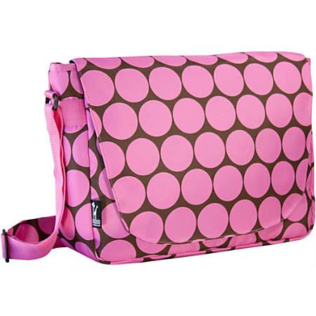 "Wildkin Laptop Messenger Bag With 17"" Laptop Pocket, Big Dots Pink"