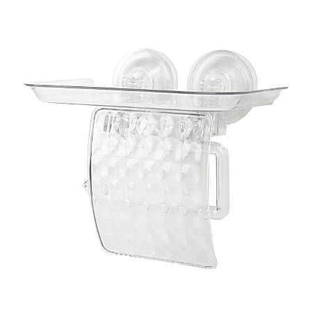 "Mind Reader Toilet Paper Holder With Phone Bed Tray, 6 11/16""H x 8 5/16""W x 5 1/8""D, Clear"