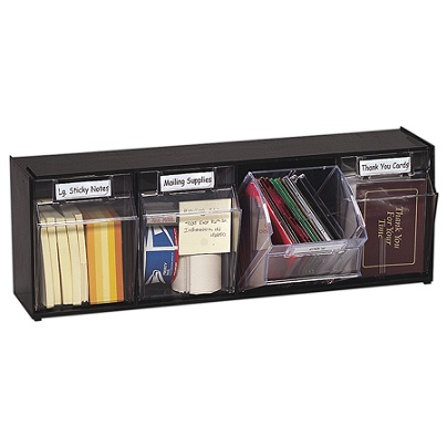 Deflect O Tilt Bin Plastic Storage System With 4 Bins 8 18 X 23 58 6 Black By Office Depot Officemax