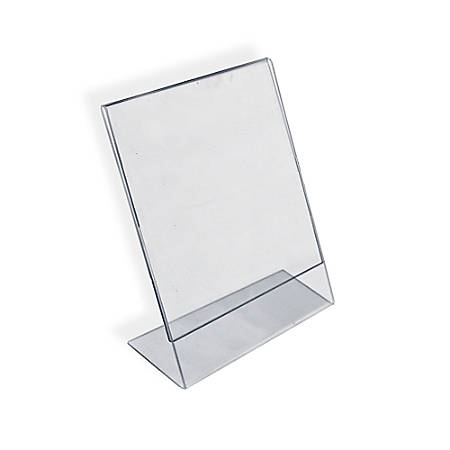 """Azar Displays Acrylic L-Shaped Sign Holders, 14"""" x 11"""", Clear, Pack Of 10"""