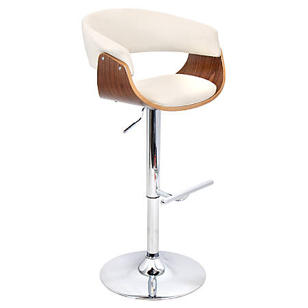 Lumisource Vintage Adjustable Bar Stool, Cream/Chrome/Walnut
