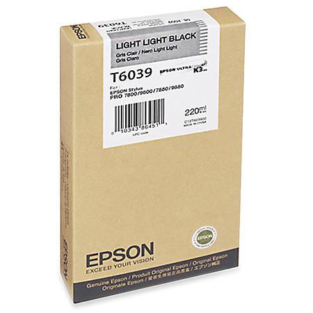 Epson T6039 - 220 ml - light light black - original - ink cartridge - for Stylus Pro 7880, Pro 9800