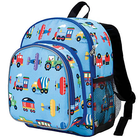 Wildkin Pack 'N Snack Laptop Backpack, Olive Kids Trains, Planes & Trucks
