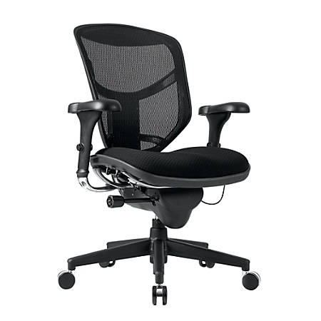WorkPro® Quantum 9000 Ergonomic Mesh/Fabric Managerial Mid-Back Chair, Black