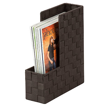 """Honey-Can-Do Woven Magazine/File Bins, 3 3/4""""L x 10""""W x 12 1/2""""H, Espresso, Pack Of 3"""