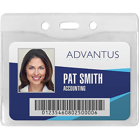 Advantus Horizontal Security Badge Holder - Vinyl - 50 / Box